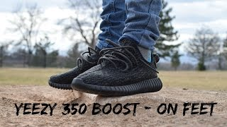 Adidas Yeezy Boost 350 Pirate Black  - On Feet + Drone