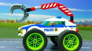 Lego Experimental Police Car and Giant Power Wheels   Cars For Kids   Toys for children