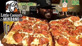 Little Ceasars BACON Wrapped Deep Dish Pizza Mukbang |Eating Show!!