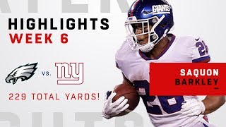 Saquon Barkley Breaks Out w/ 229 Total Yards & 1 TD vs. Philly