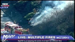 FNN: Brush Fire off I-105 Freeway in Los Angeles