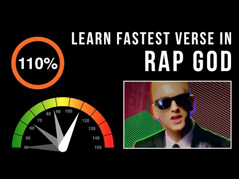 Let's Practice! Eminem's Fastest Verse In 'Rap God' (Slowed down w/ scrolling lyrics)