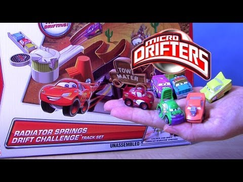 Micro Drifters Snot Rod, Wingo, Mario Andretti Cars 2 Radiator Springs Drift Challenge Track Playset - Smashpipe Entertainment Video