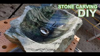 How To Carve A Marble/Granite Stone Sink bowl in a Day #DIY