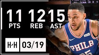 Ben Simmons Triple-Double Full Highlights vs Hornets (2018.03.19) - 11 Pts, 12 Reb, 15 Assists