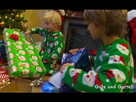 Christmas Morning 2014 - Gabe and Garrett Opening Presents!