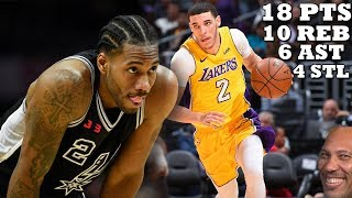 Lonzo Ball DESTROYS Kawhi Leonard-less Spurs!! Lakers vs Spurs