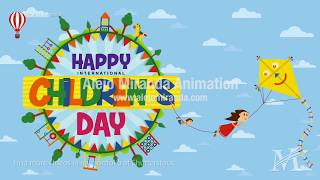 Happy International Children's Day greeting card.