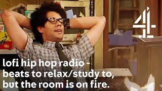 lofi hip hop radio - beats to relax/study to, but with Moss from The IT Crowd & the room is on fire.
