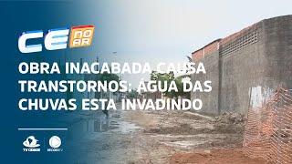 Obra inacabada causa transtornos: água das chuvas esta invadindo as casas