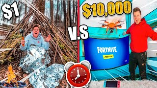 $1 Vs $10,000 FORT - Overnight Survival Challenge In The Woods (24 Hour Challenge)