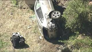 Tiger Woods injured in car crash, taken to hospital (aerial footage of scene)