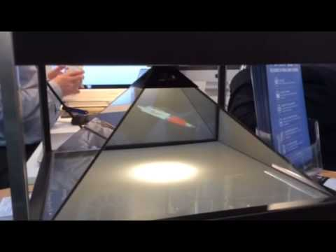 Create live virtual samples as holograms at exhibitions