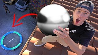 POLISHED TIN FOIL BALL DROPPED 50FT ON TRAMPOLINE!