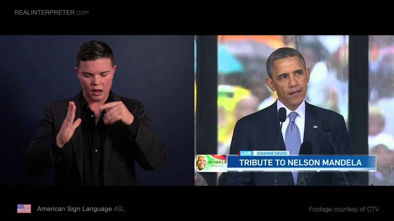 Never Yet Melted » Signing at Mandela's Funeral  |Barack Obama Sign Language
