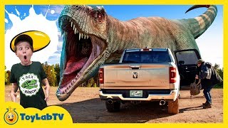 Escape the Giant T-Rex Dinosaur Challenge! Aaron Found a Kids Game Toy & LB Has Fun at Dino School