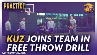 Lakers Practice Videos: Kuzma Joins Team In Free Throw Drill