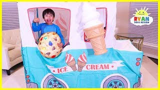 Ryan Pretend Play with Ice Cream Truck Food Toys!