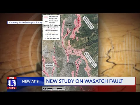UGS study indicates earthquake rupture risk in Northern Utah; Shows 288 miles of fault traces