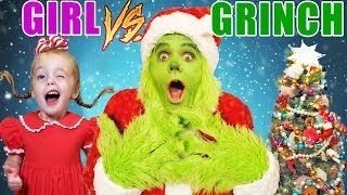 Girl vs Grinch Challenge! Will She Save Christmas? The Grinch in Real Life! Rematch!