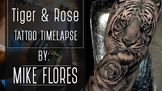 Tattoo time lapse Realistic Rose and Tiger - tattoo by Mike Flores
