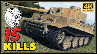 Tiger 131 - 15 Kills - 1 VS 5 - World of Tanks Gameplay - 4K Video