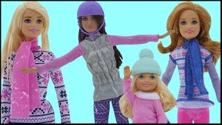 SNOWBOARDING! Barbie, Chelsea, Stacie & Skipper SLIDE with the TOBOGGAN. Fun in the Snow!