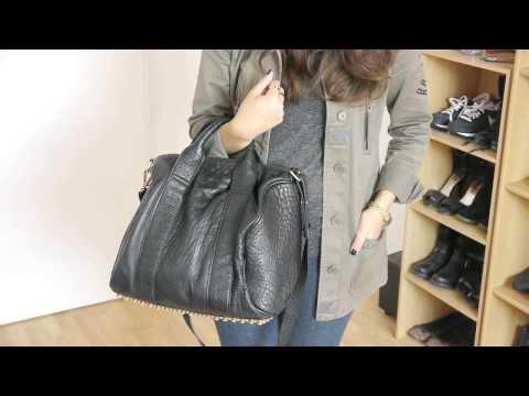 Alexa Studded Calfskin Leather Bag Black With Gold Studs
