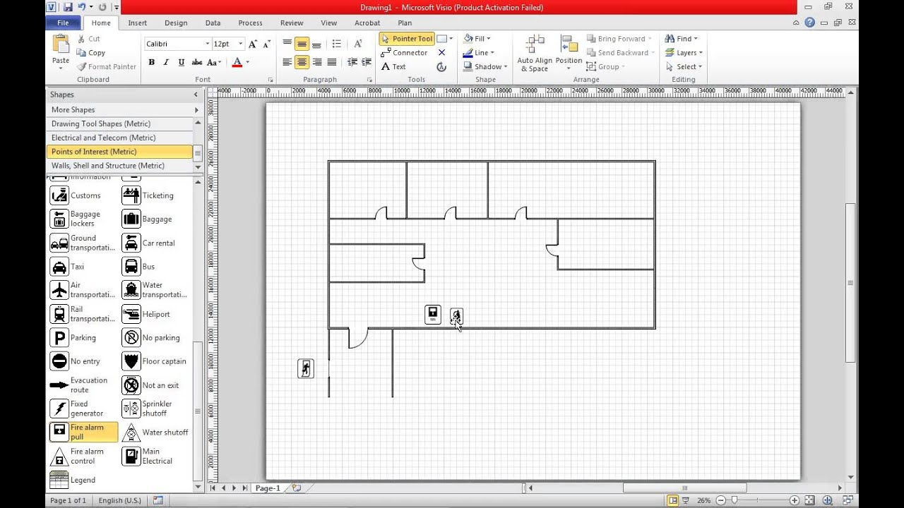 Visio Floor Plan Scale Create A Fire Escape Plan In Visio 2010 Youtube