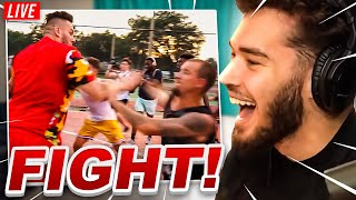 Adin Ross Reacts To Nick Briz PURE CHAOS AT THE PARK! 5v5 Basketball!