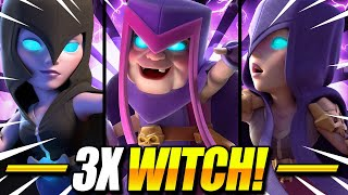 UNBELIEVABLE TRIPLE WITCH DECK ACTUALLY WORKS IN CLASH ROYALE!! Mother Witch Deck Clash Royale
