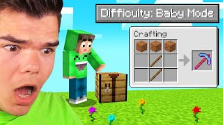 BEATING MINECRAFT On The EASIEST DIFFICULTY! (Baby Mode)