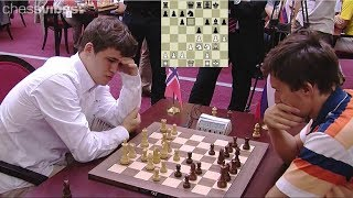 BEAUTIFUL ATTACK THE KING!!! MAGNUS CARLSEN VS SERGEY KARJAKIN || BLITZ CHESS 2012