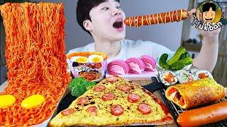 ASMR MUKBANG 편의점 핵불닭 미니!! 떡볶이 & 핫도그 & 치즈 피자 FIRE Noodle & HOT DOG & CHEESE PIZZA EATING SOUND!