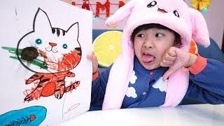 Bé Bún Tô Màu Con Mèo – Bé Bắp Tô Màu Xấu Quá | Coloring A Cat