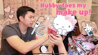 🎀Hubby does my make up challenge using HELLO KITTY COSMETICS🎀