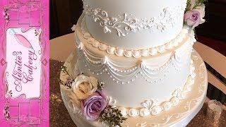 Spring Wedding Cake - Lambeth Over piping tutorial