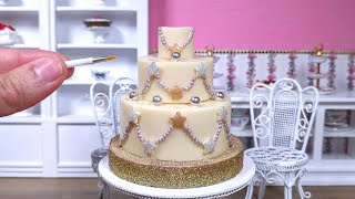 Miniature white chocolate Christmas Tree Decorations cake - mini food ASMR