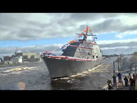 The Lockheed Martin-led industry team launched the nation's seventh Littoral Combat Ship into the Menominee River on October 18. The future USS Detroit was formally christened prior to her launch by Mrs. Barbara Levin.