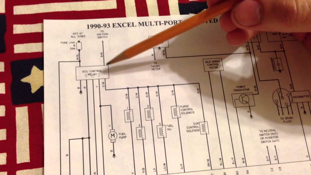 91 hyundai excel engine wiring schematic - youtube hyundai excel wiring diagram download #3