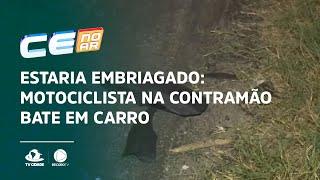 ESTARIA EMBRIAGADO: Motociclista na contramão bate em carro