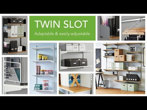 Black & White Steel Twin Slot Shelving Kit - 4 Shelves