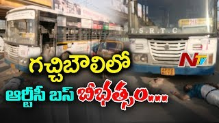 RTC bus runs over 3 at Gachibowli bus stop in Hyd..
