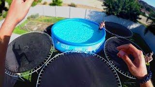 We Built a Backyard Trampoline Water Park!