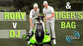 Carrying TIGER WOODS Bag & DUSTIN VS RORY Long Drive!