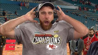 Travis Kelce talks Chiefs' Super Bowl win, celebrates on stage | NFL Primetime