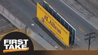 First Take reacts to fan billboards recruiting LeBron James to Lakers | First Take | ESPN
