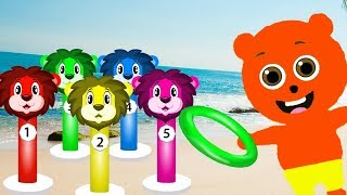 Mega Gummy bear Fun Play with Color Ring Toss Game 3D Cartoon Animation Nursery Rhymes