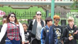 Angelina Jolie with her children at Disneyland