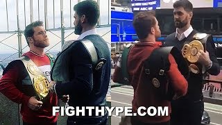 (WHOA!) CANELO SIZES UP ROCKY FIELDING FOR THE FIRST TIME; CRAZY HEIGHT AND REACH DIFFERENCE
